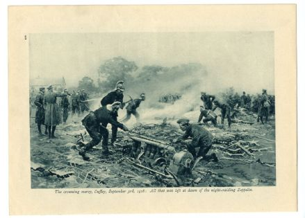 1916 WW1 War Print ZEPPELIN Airship CRASH at Cuffley Hertfordshire by FORTUNINO MATANIA